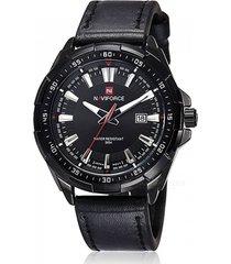 reloj hombre cuarzo pulso cuero fecha naviforce 9056 negro