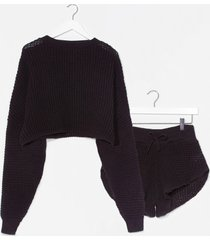 womens knit's end sweater and shorts lounge set - black