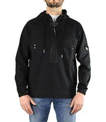 c.p. company heavy jersey black hoodie