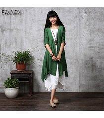 zanzea verano de las mujeres flojas ocasionales de las blusas de lino cardigan blusas femenino elegante medio de la manga de la manera larga outwear el tamaño extra grande (green ink) -verde