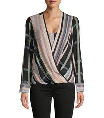 bcbgmaxazria women's striped faux wrap blouse - size xs