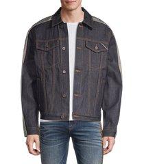 cult of individuality men's striped denim jacket - dark denim - size xl
