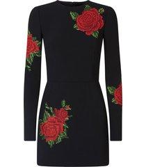 dolce & gabbana cross-stitch embroidery silk dress - black
