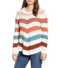 women's caslon stitch stripe sweater, size large - ivory