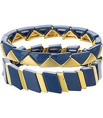 luxe 2-piece goldtone & cubic zirconia bracelet set
