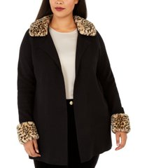 belldini plus size faux-fur-trimmed open-front cardigan
