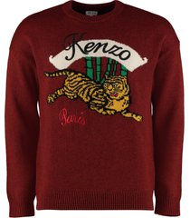 kenzo crew-neck wool-cotton blend sweater