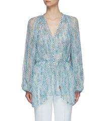 'astone' floral print pleated chiffon blouse