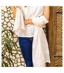 cotton and silk shawl, 'white rose' (india)