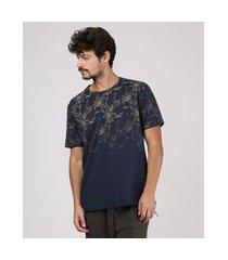 camiseta masculina estampada floral manga curta gola careca azul marinho