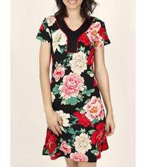 jurk admas nachtbloemen zomerjurk met korte mouwen