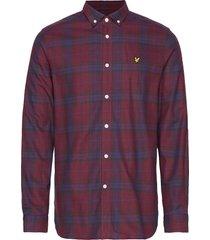 check flannel shirt skjorta casual röd lyle & scott