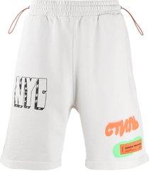 heron preston graffiti print fleece shorts - grey