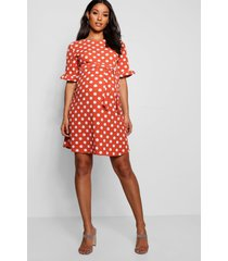 maternity spot print ruffle smock dress, terracotta