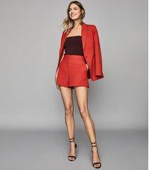 reiss beatrix jacket - textured blazer in red, womens, size 10