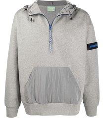 aries contrast-pocket hooded sweatshirt - grey