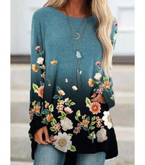 camicetta vintage a maniche lunghe con stampa floreale sfumata per donna