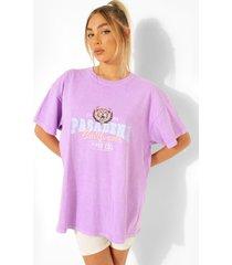 oversized katoenen overdye varsity t-shirt, lilac