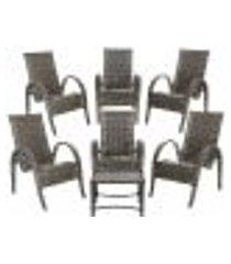 conjunto 6 cadeiras napoli e mesa de centro fibra sintetica pedra ferro