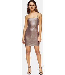 petite rose pink holographic bodycon dress - rose gold