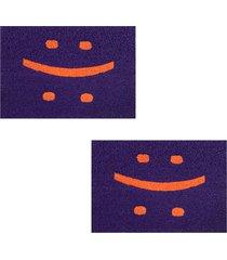2 tapetes capacho decorativo 60x1,2m smile - roxo - feminino - dafiti
