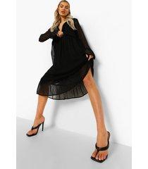 dobby mesh midi jurk met lange mouwen en franjes, black