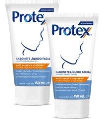 kit sabonete líquido facial protex anti cravos e espinhas 150ml com 2 unidades