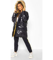 vinyl longline faux fur trim puffer jacket, navy