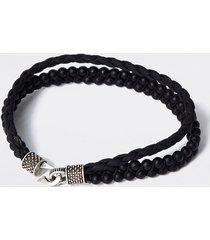 river island mens black leather beaded layered bracelet