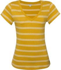 blusa dudalina manga curta decote v listrado feminina (amarelo medio listrado, gg)