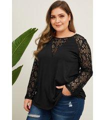 camiseta de encaje negro talla grande yoins