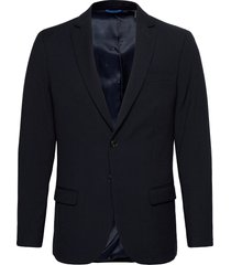classic single-breasted blazer in yarn-dyed pattern blazer colbert blauw scotch & soda