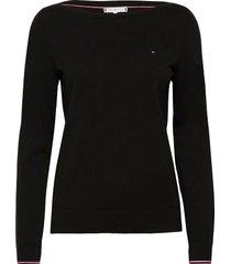 boat neck sweater stickad tröja svart tommy hilfiger