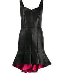 alexander mcqueen peplum hem leather dress - black