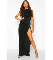 tall plissé thigh split maxi dress, black