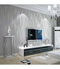 no tejido 10m wave 3d papel tapiz de fondo de la raya de la media luna rollo de papel de pared decoración para el hogar (n pegamento) - plata