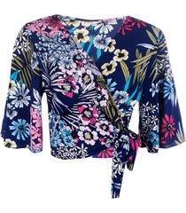 blusa kimono linda d+ floral marinho
