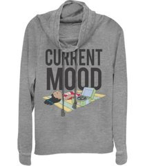fifth sun women's disney lilo stitch current mood lilo fleece cowl neck sweatshirt
