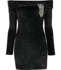 chiara ferragni off-shoulder lurex mini dress - black
