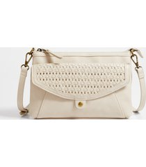 maurices womens cream woven crossbody bag white