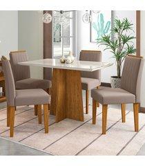 mesa de jantar 4 lugares ana 1280 100% mdf ypê/off white - new ceval