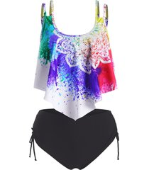 bohemian flower flounce overlay cinched tankini swimwear