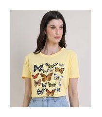 t-shirt feminina mindset borboletas manga curta decote redondo amarela