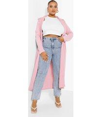 plus crêpe long line duster jas, dusty pink