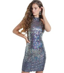 vestido merlyn ombre sequin dress plateado guess