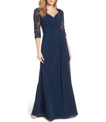 women's la femme ruched twist column gown, size 4 - blue