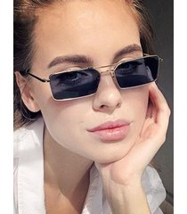 retro metal rectangle crossbar sunglasses