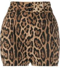 dolce & gabbana leopard-print high-waisted shorts - brown