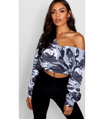 camo cropped sweatshirt, grey