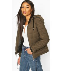 hooded padded jacket, khaki